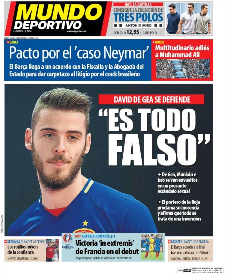 Mundo Deportivo Portada De Gea falso 11.06.16