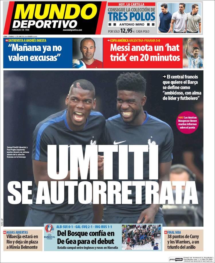 Mundo Deportivo Portada Umtiti 12.06.16
