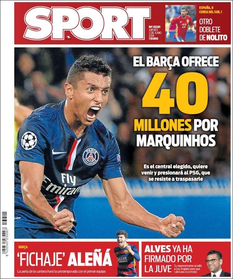 Sport Portada Marquinhos 02.06.16