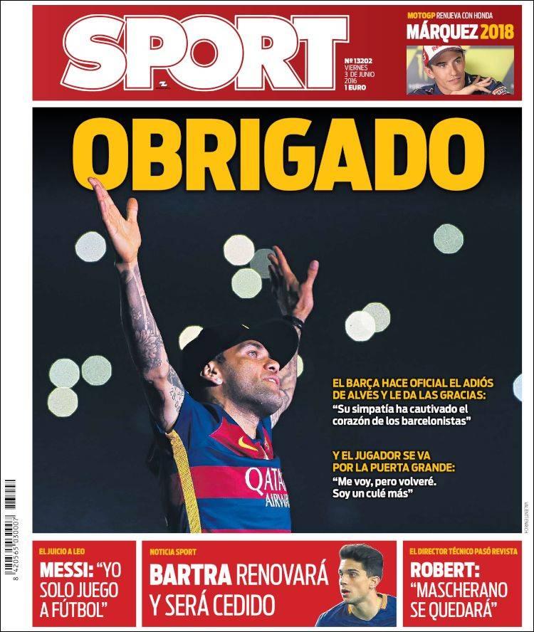 Sport Portada Obrigado 03.06.16
