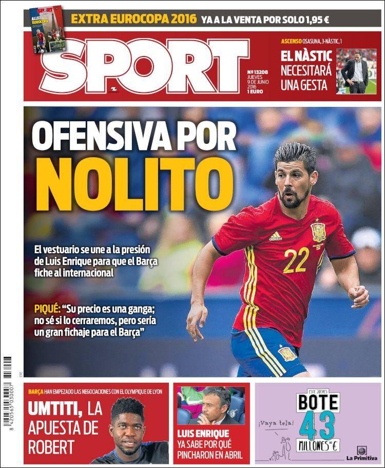 Sport Portada Nolito 09.06.16