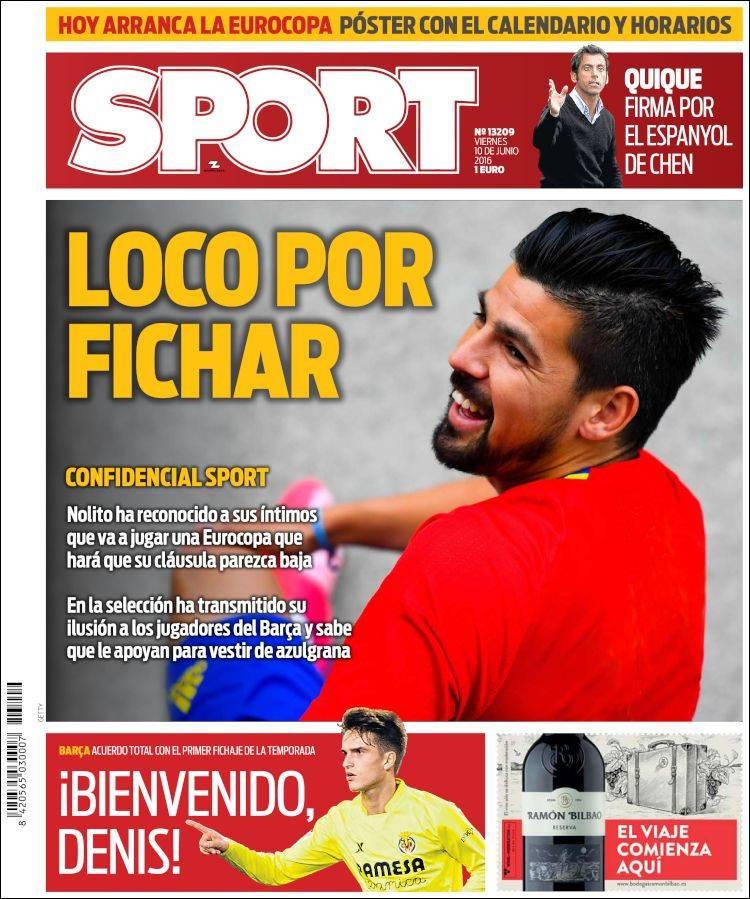 Sport Portada Nolito 10.06.16