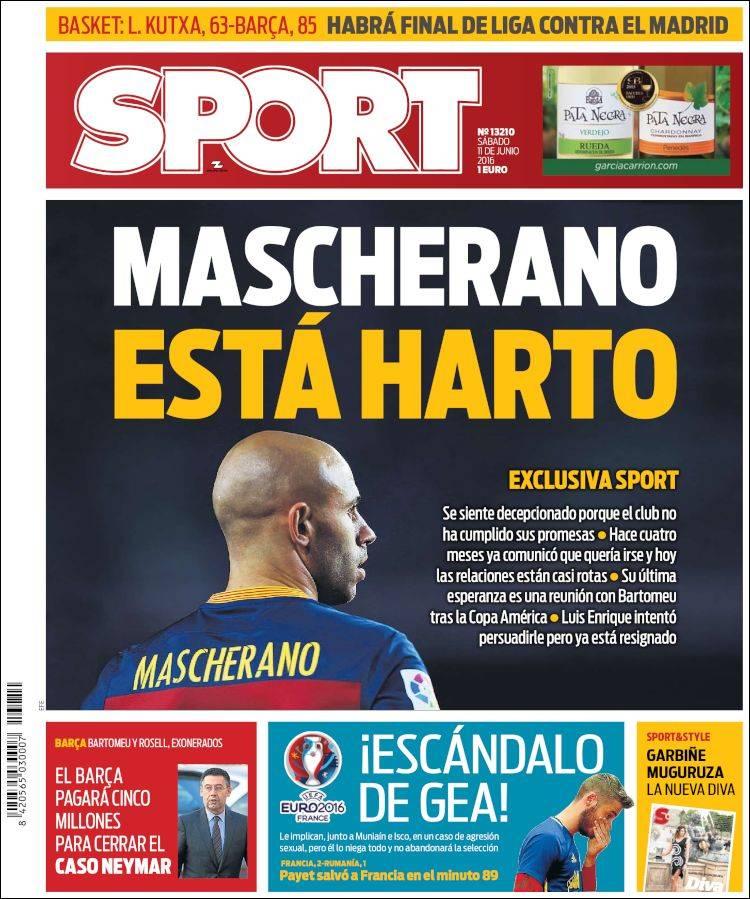 Sport Portada Mascherano 11.06.16