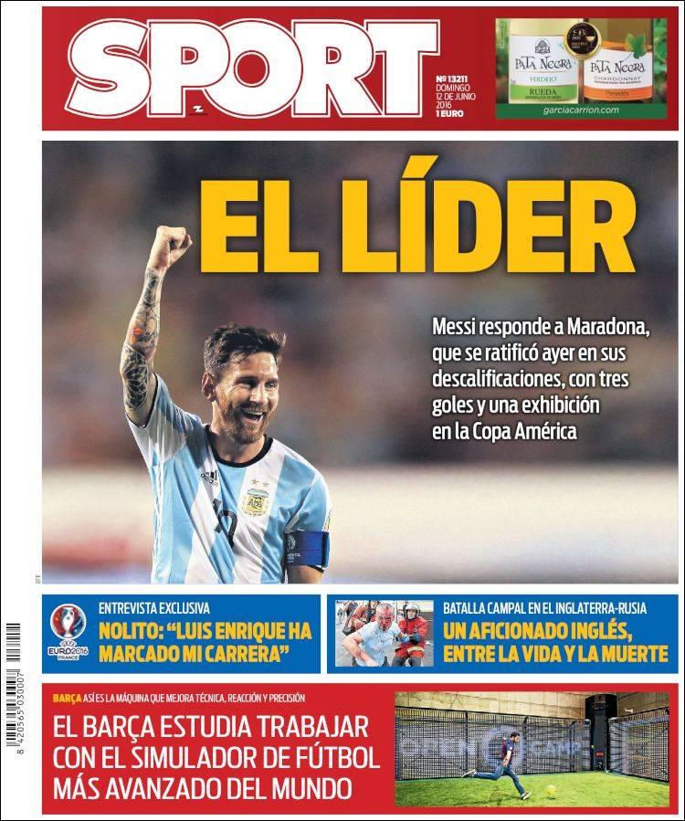 Sport Portada Messi 12.06.16