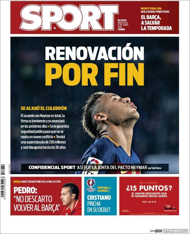 Sport Portada Neymar 15.06.16