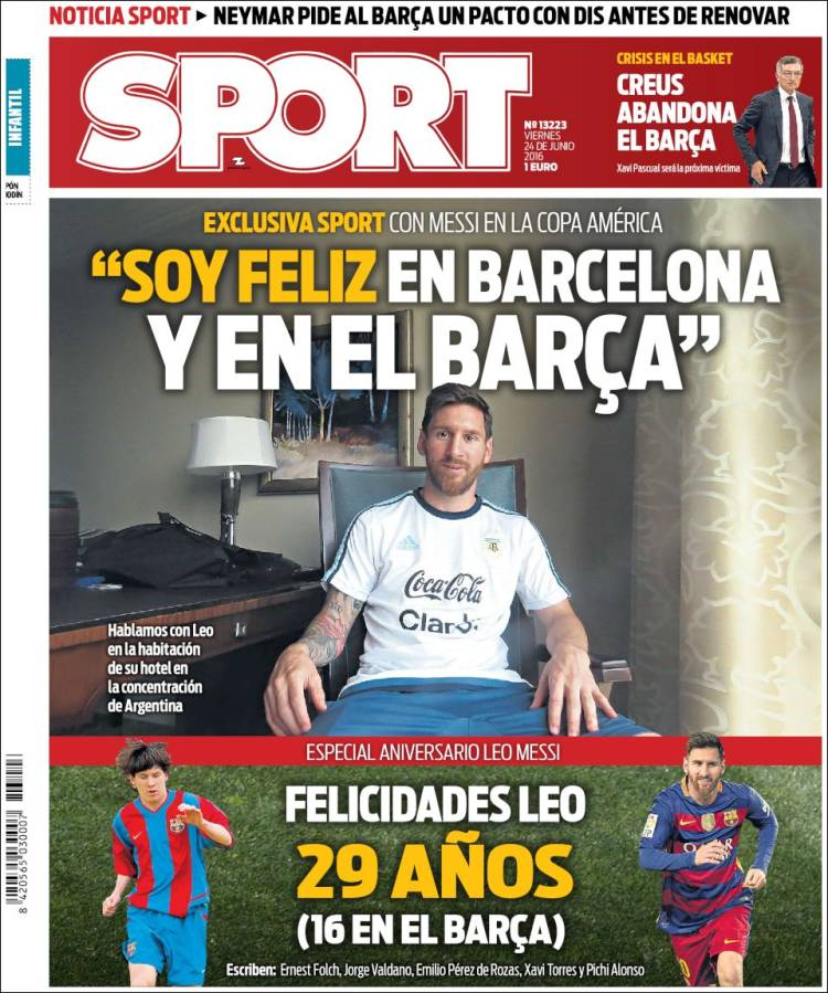 Sport Portada Messi 24.06.16