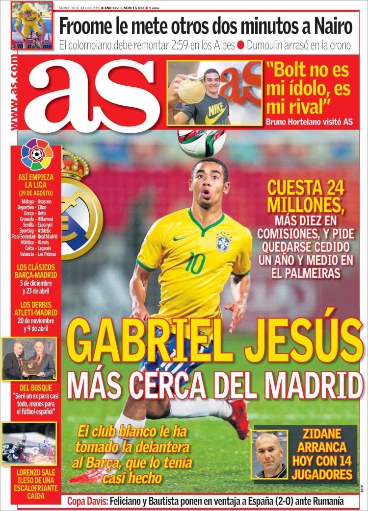 As Portada Gabriel Jesús 16.07.16