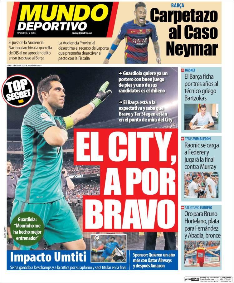 Mundo Deportivo Portada Bravo 09.07.16