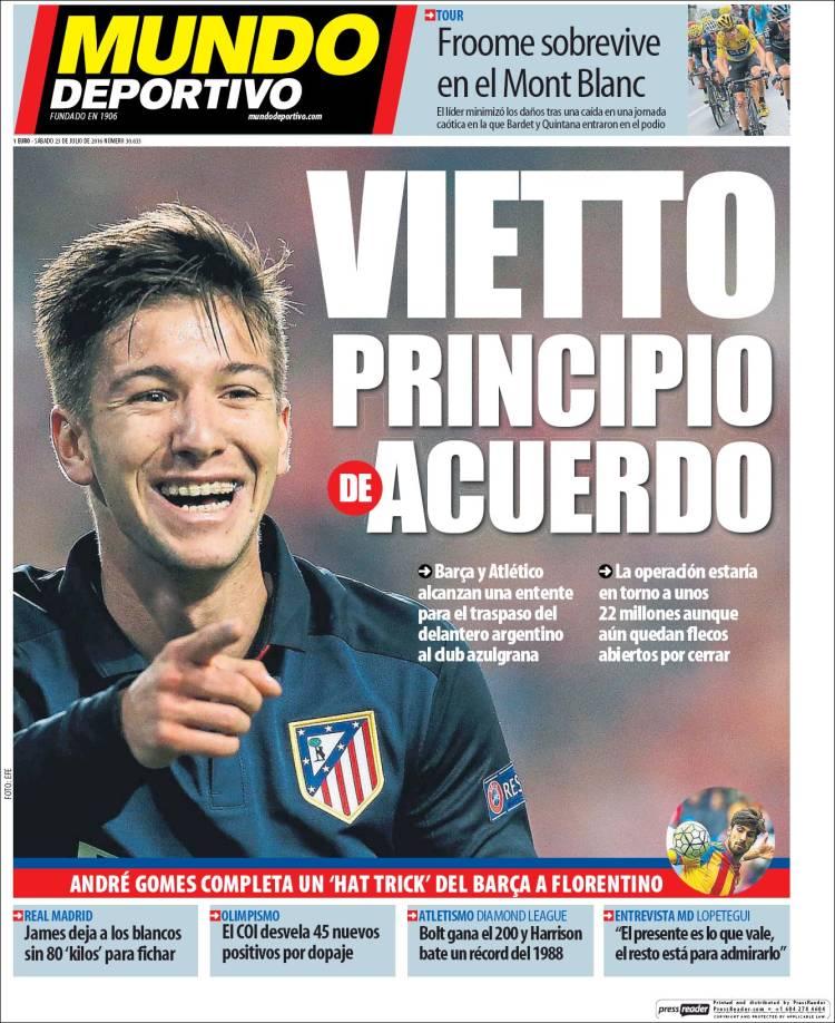 Mundo Deportivo Portada Vietto 23.07.16