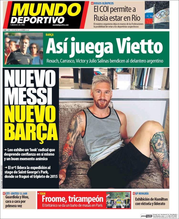 Mundo Deportivo Portada 25.07.16