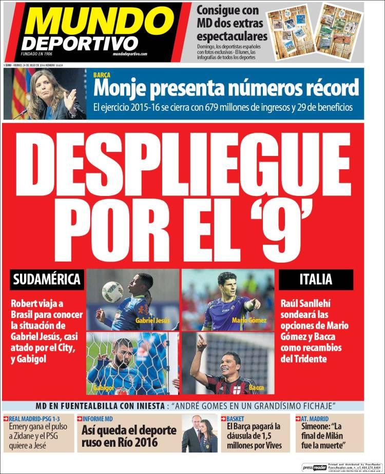 Mundo Deportivo Portada 29.07.16