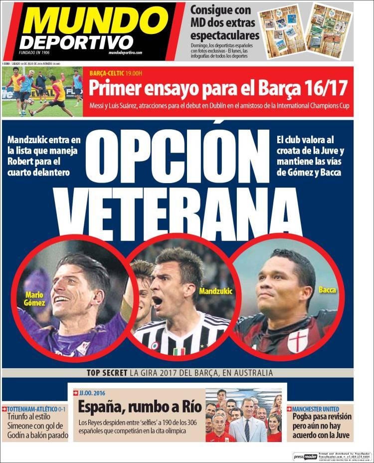 Mundo Deportivo Portada 30.07.16