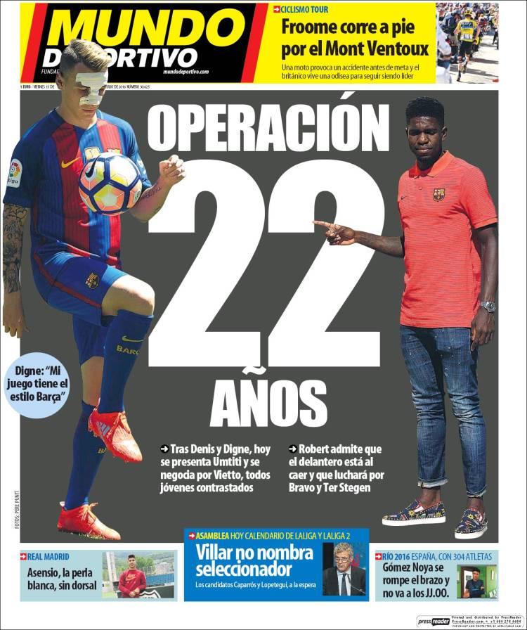 Mundo Deportivo Portada 22 15.07.16