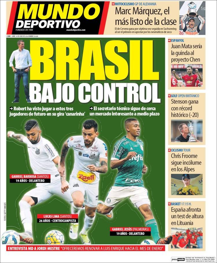 Mundo Deportivo Portada Brasil 18.07.16