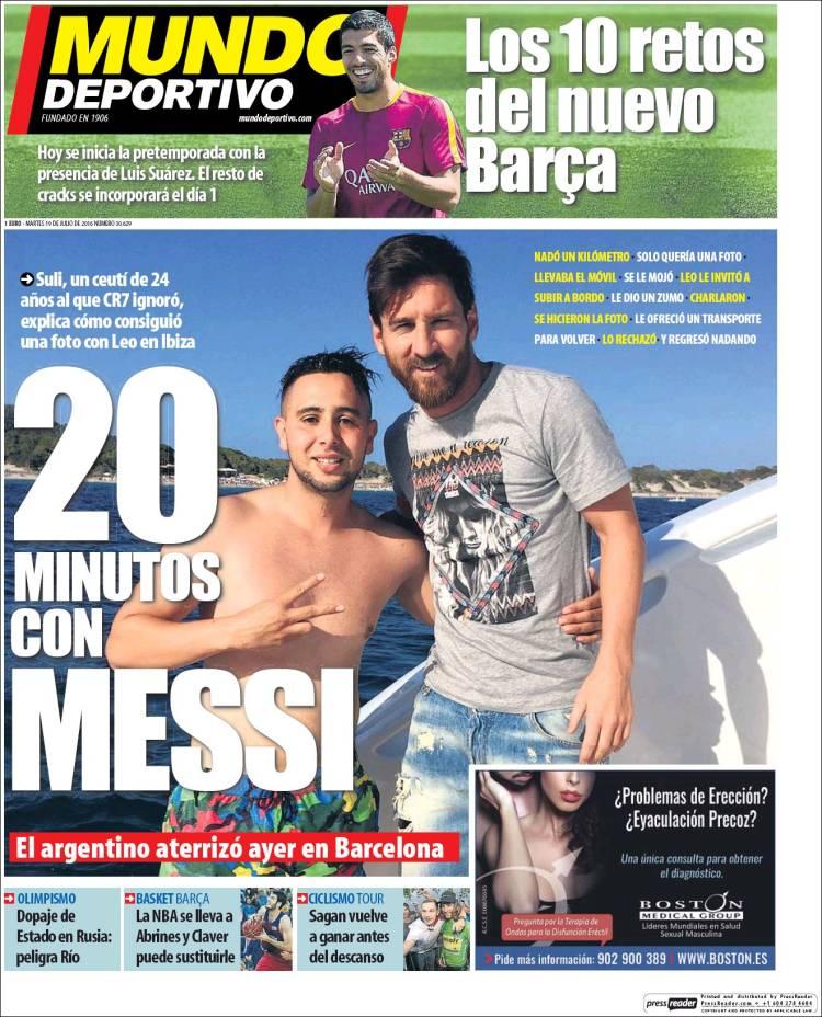 Mundo Deportivo Portada Messi ceutí 19.07.16