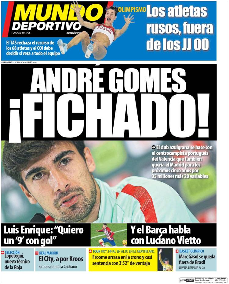 Mundo Deportivo Portada André Gomes 22.07.16