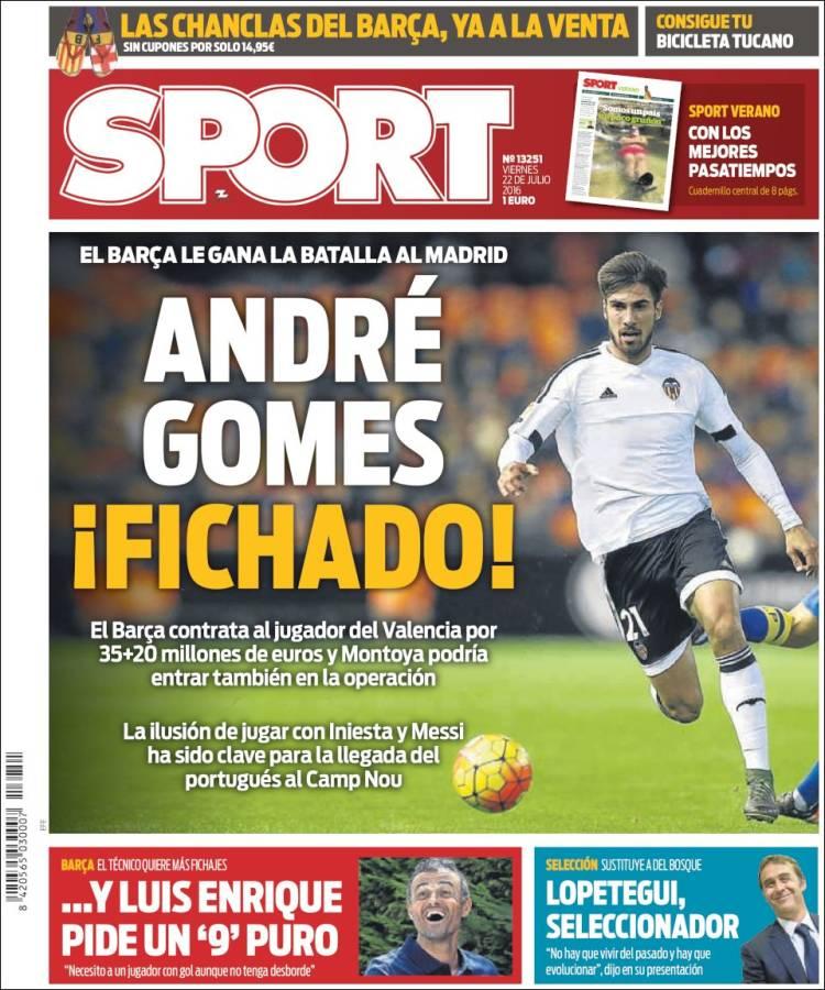 Sport Portada André Gomes 22.07.16