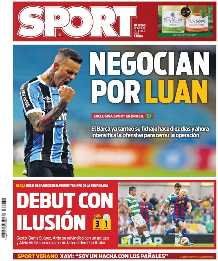 Sport Portada Luan 31.07.16