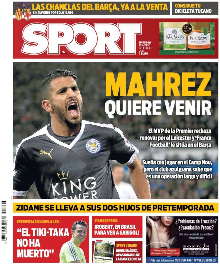Sport Portada Mahrez 17.07.16