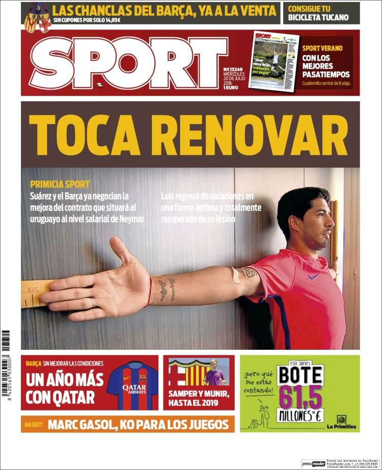 Sport Portada Luis Suárez 20.07.16