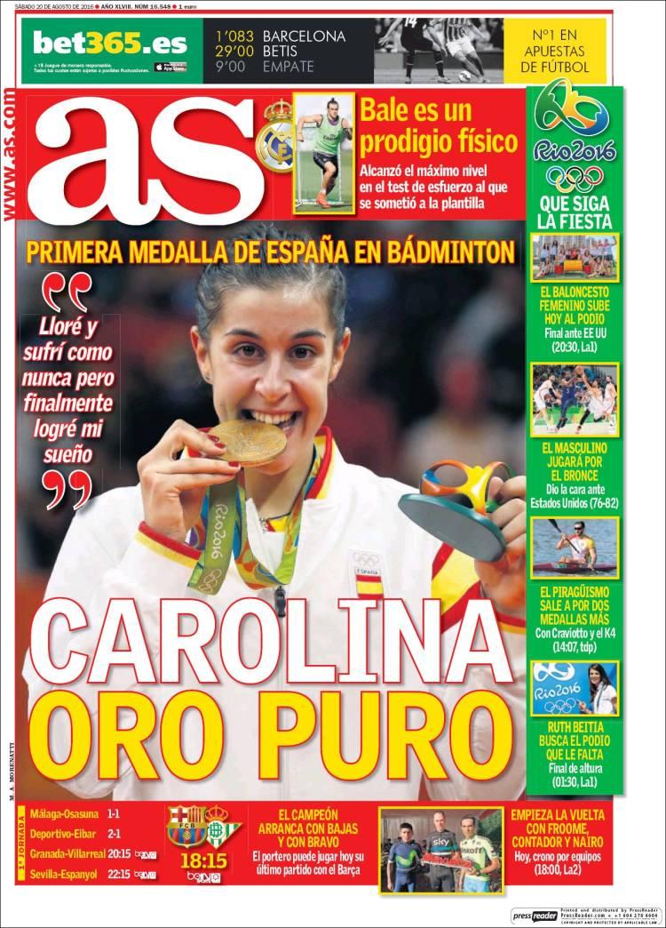 As Portada Carolina Marín 20-08-16