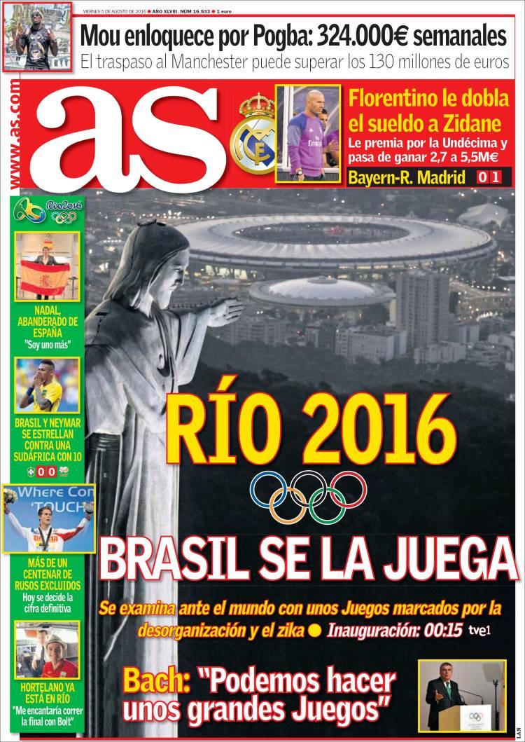As Portada Rio 05.08.16