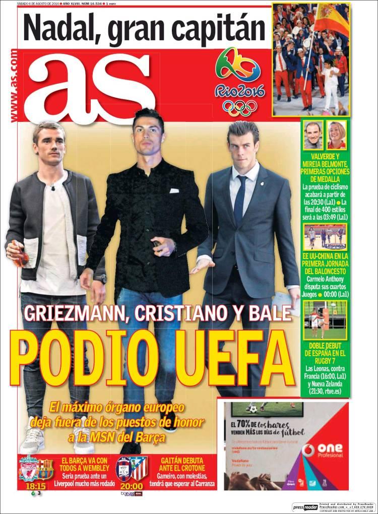 Portada As Griezmann Cristiano Bale 06.08.16