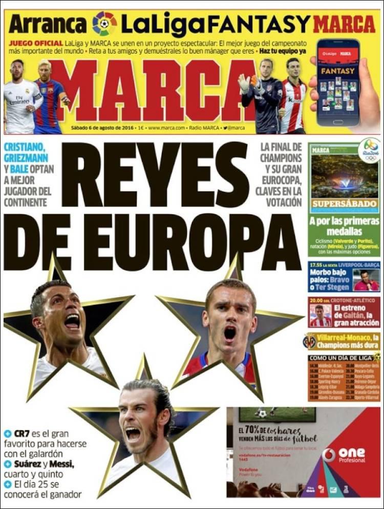 Portada Marca Cristiano Griezmann Bale 06.08.16