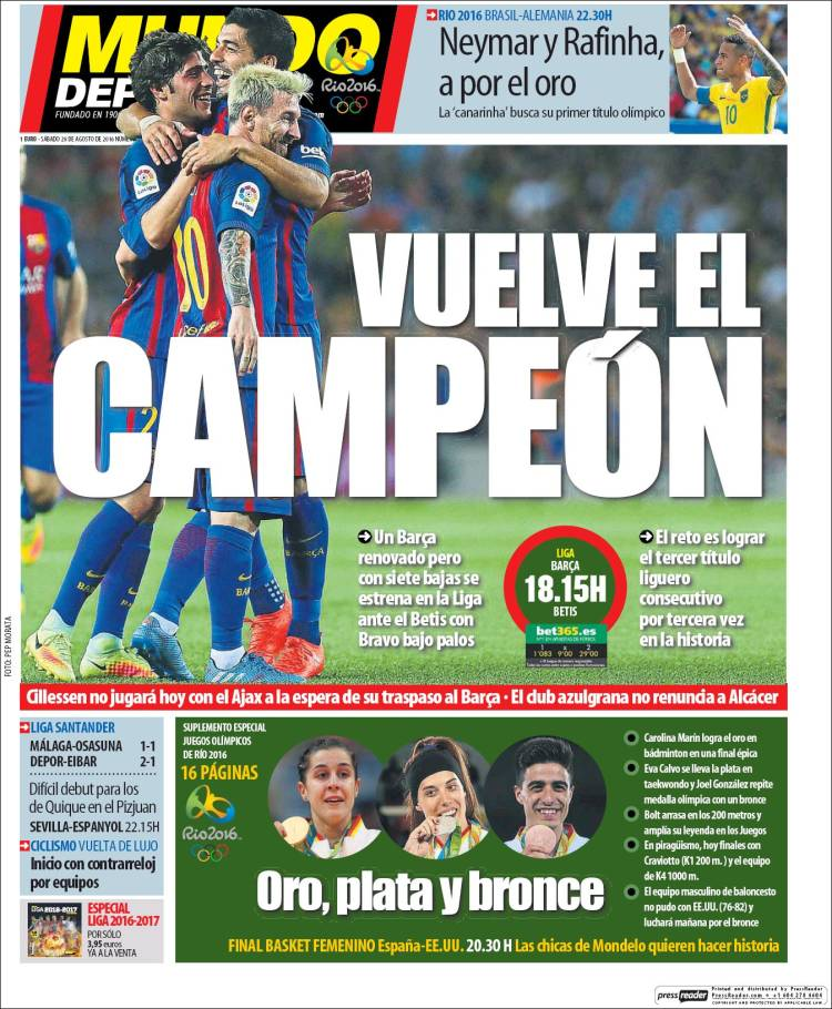 Mundo Deportivo Portada 20.08.16