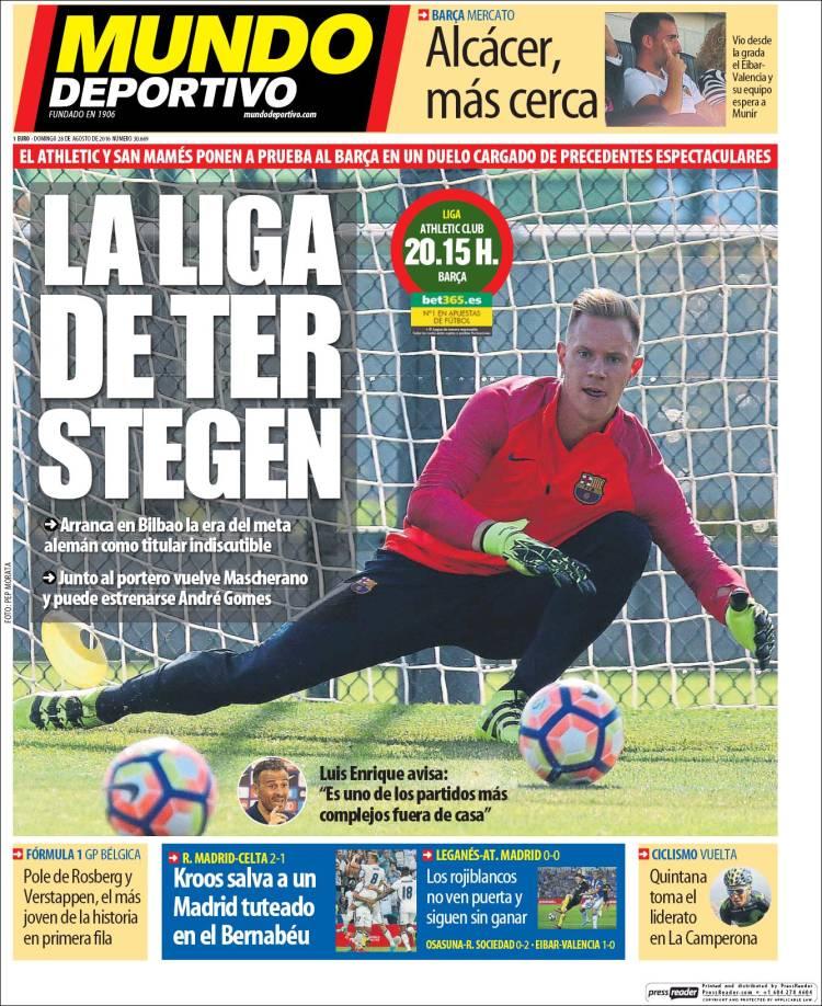 Mundo Deportivo Portada 28.08.16