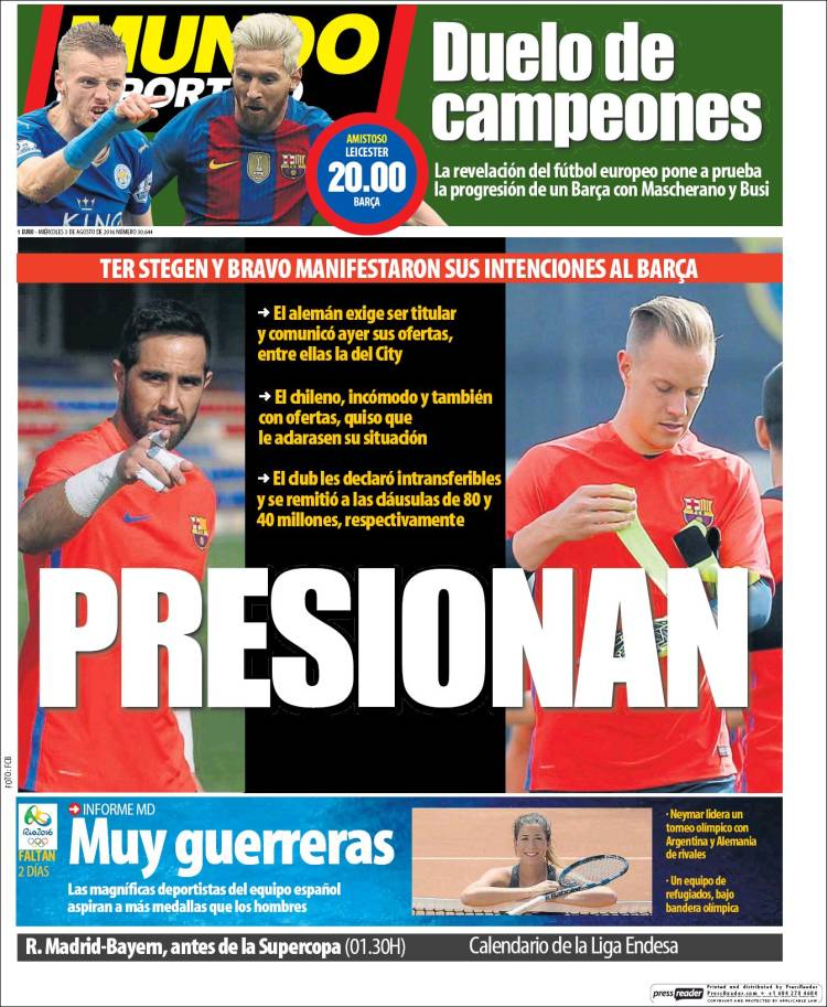 Mundo Deportivo Portada Porteros 03.08.16