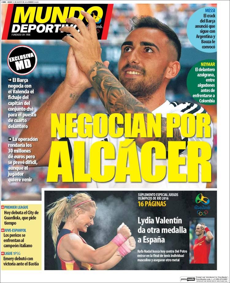 Mundo Deportivo Portada Alcacer 13.08.16