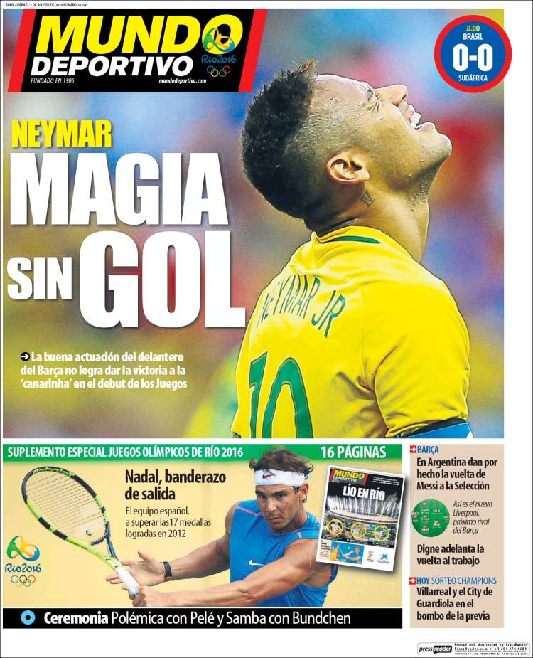Mundo Deportivo Portada Neymar 05.08.16