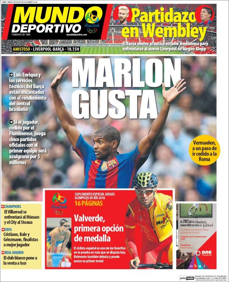 Mundo Deportivo Portada Marlon 06.08.16