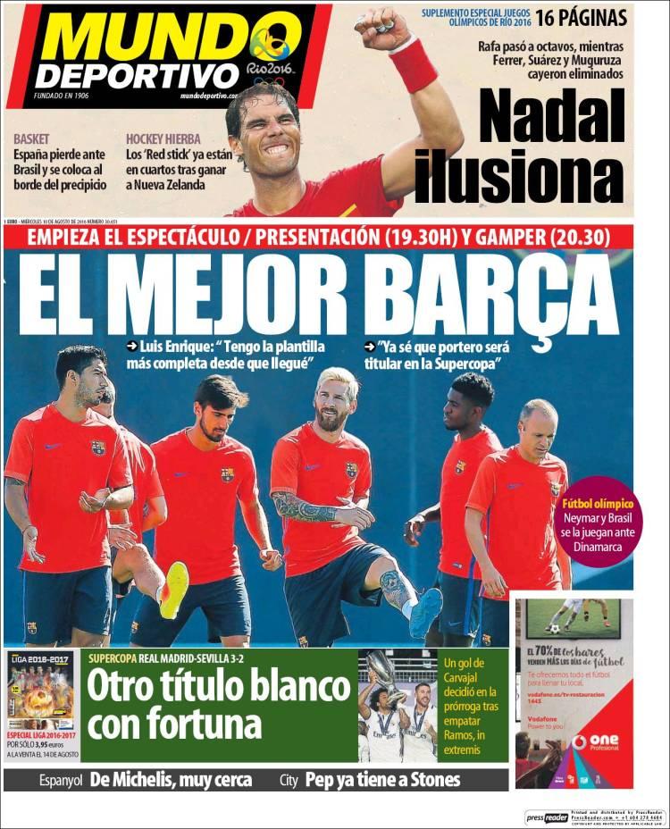Mundo Deportivo Portada Supercopa 10.08.16