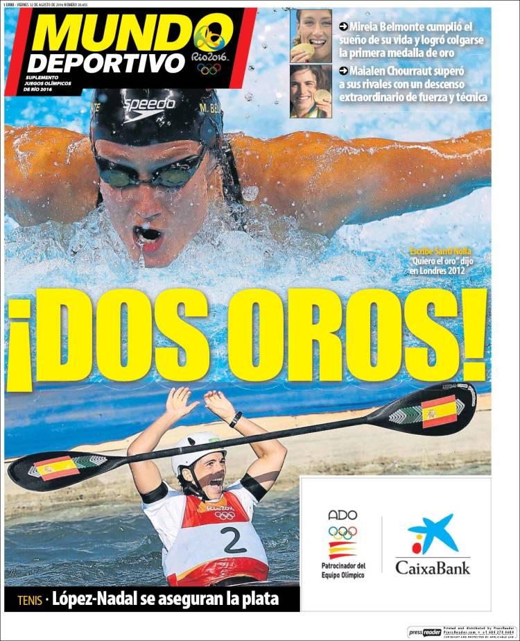 Mundo Deportivo Portada Dos Oros 12.08.16