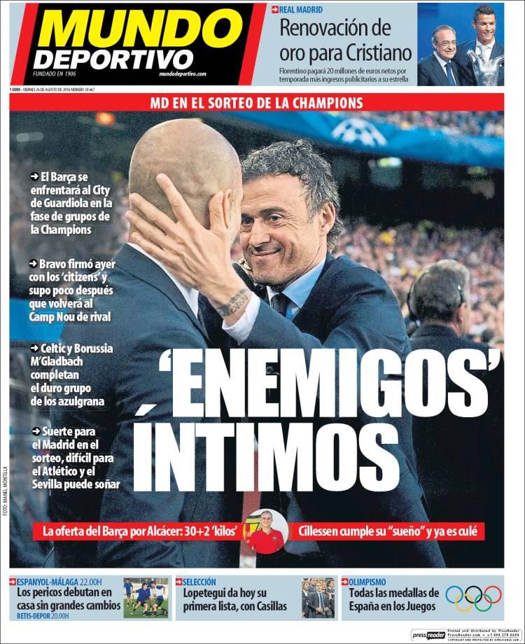 Mundo Deportivo Portada 26.08.16