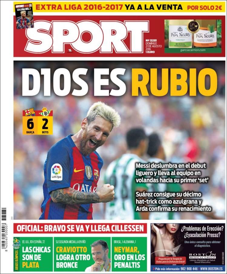Sport Portada Dios es rubio 21.08.16
