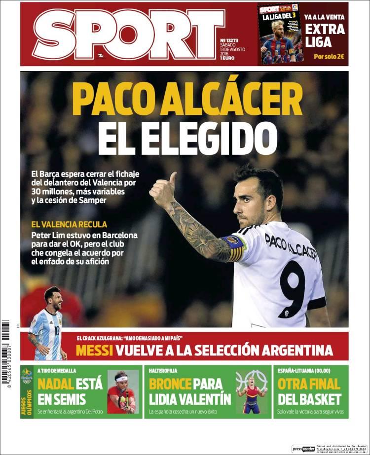 Sport Portada Alcacer 13.08.16