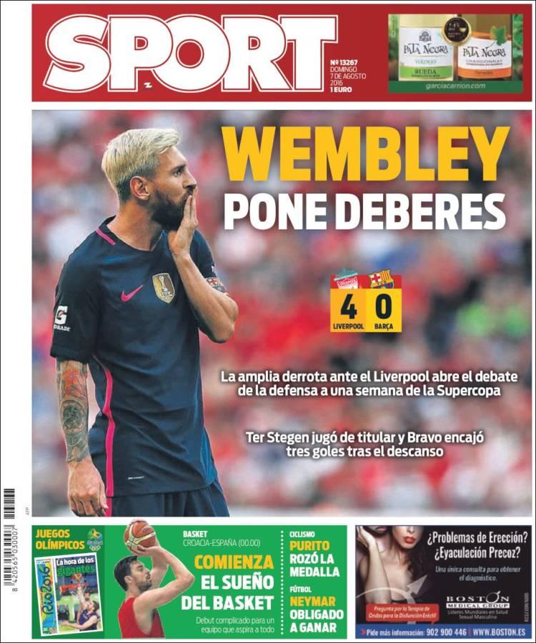 Sport Portada Wembley 07.08.16