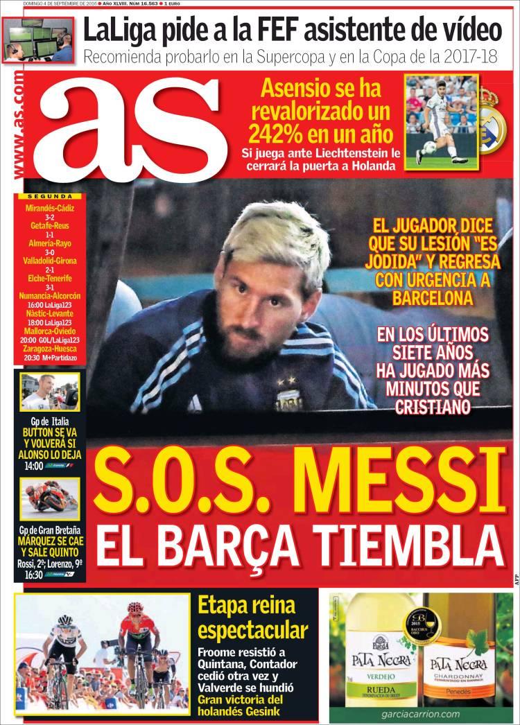 As Messi Portada 04.09.16