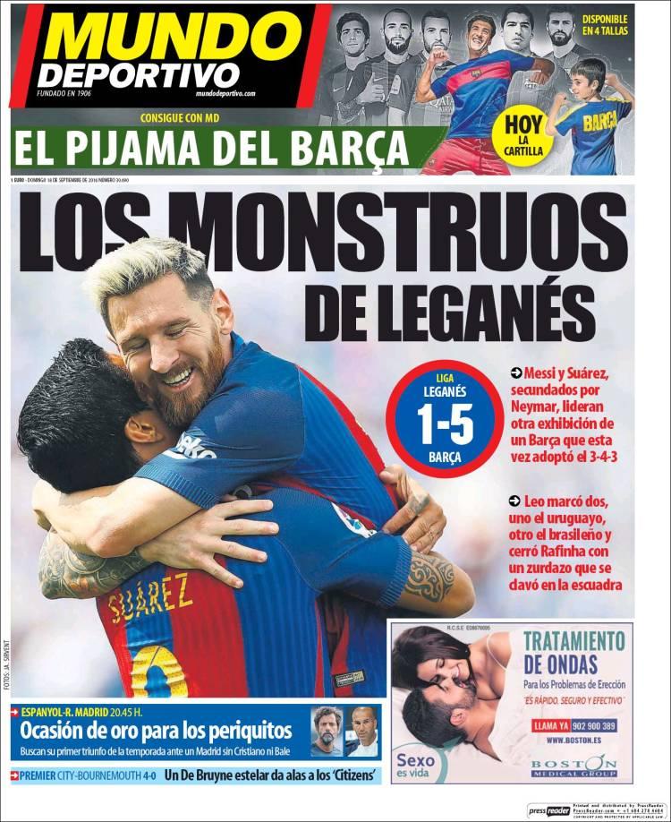 Mundo Deportivo Portada Monstruos 18.09.16
