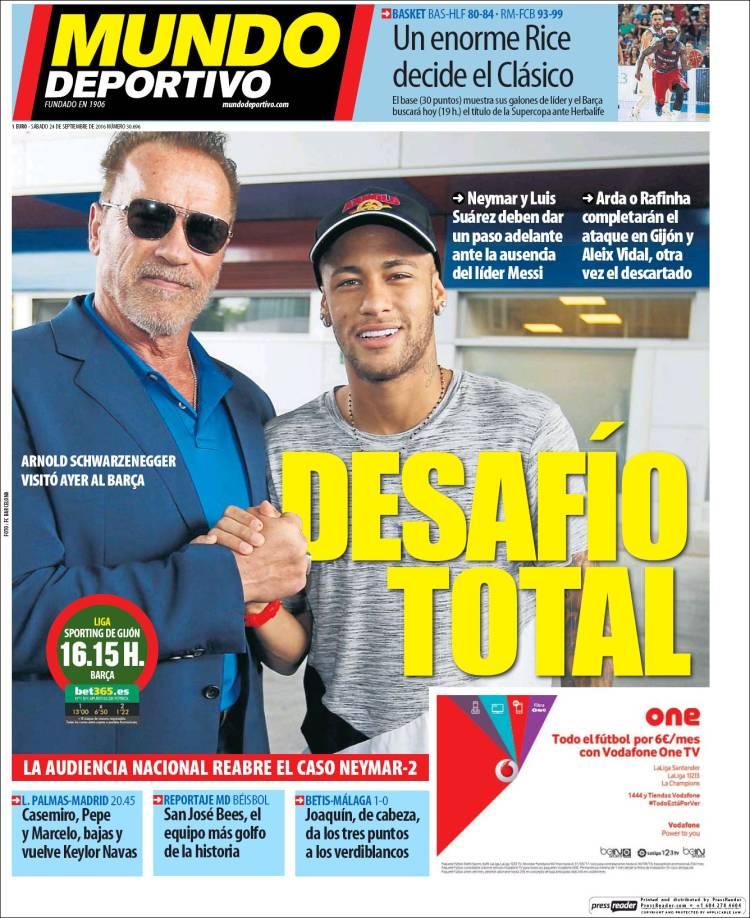 Mundo Deportivo Portada Schwarzenegger 24.09.16
