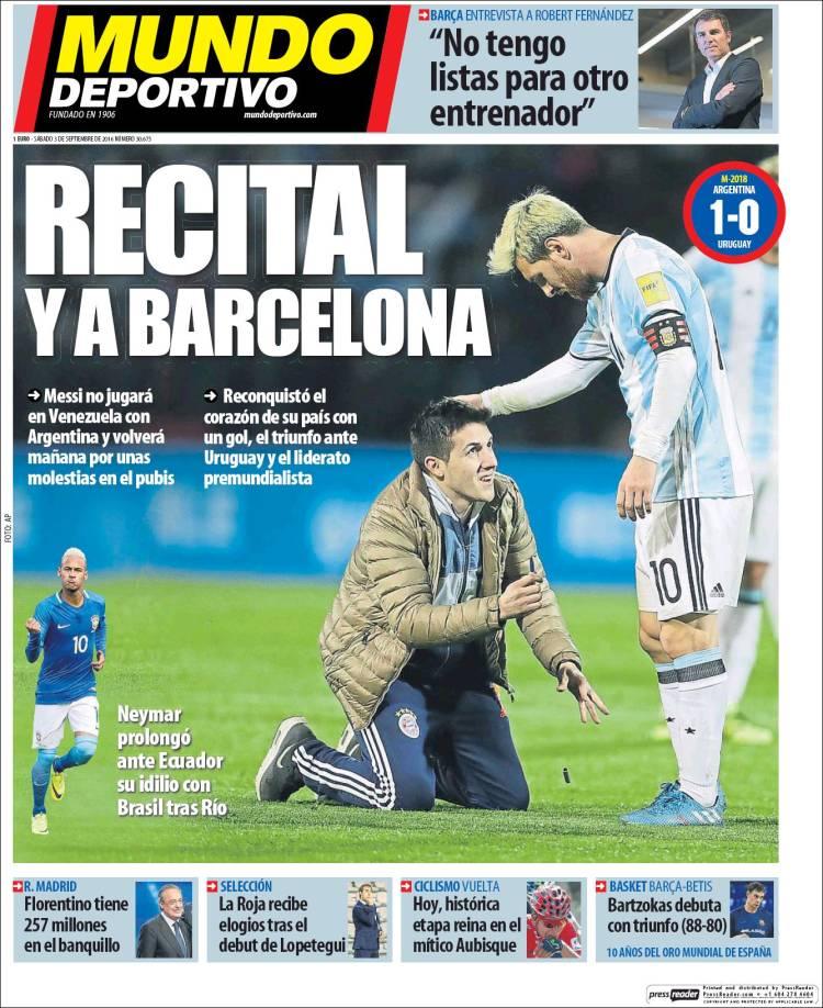 Mundo Deportivo Portada Messi 03.09.16
