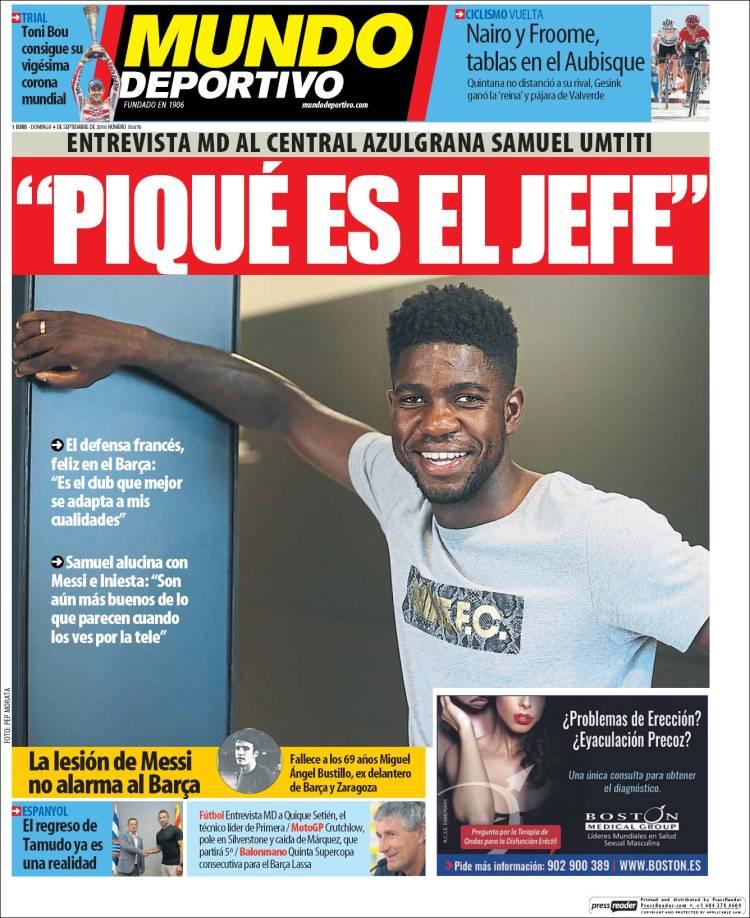 Mundo Deportivo Portada Umtiti 04.09.16