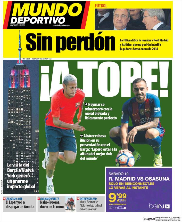 Mundo Deportivo Portada Sin perdón 09.09.16