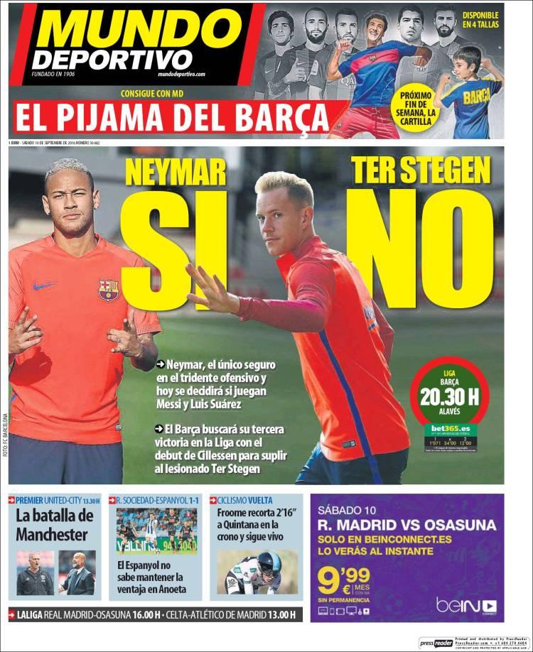 Mundo Deportivo Portada 10.09.16