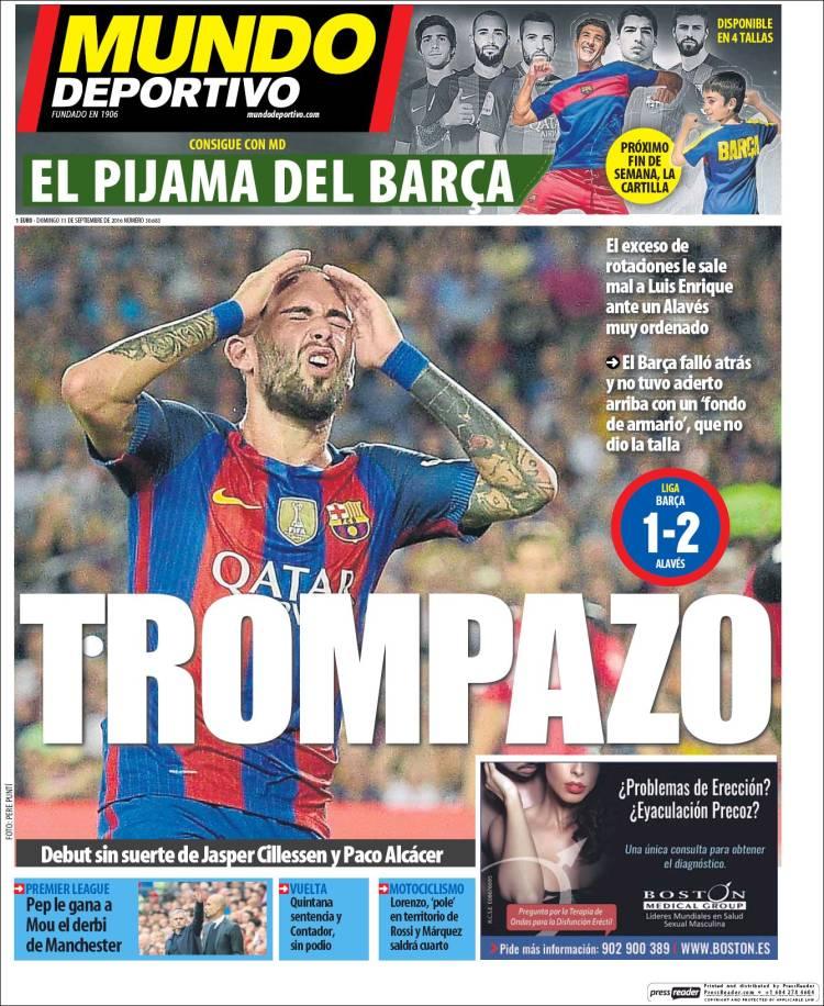 Mundo Deportivo Portada Trompazo 11.09.16
