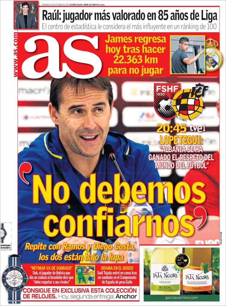 As Portada Lopetegui 09.10.16