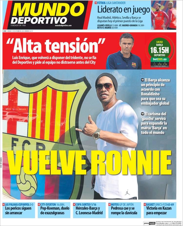 Mundo Deportivo Portada Ronaldihno 15.10.16